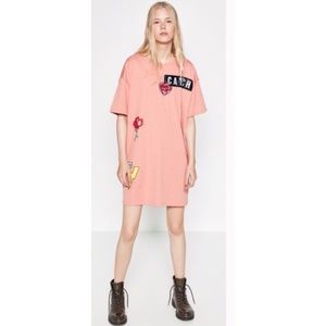 Zara Trafaluc graphic patch shirt dress pink M